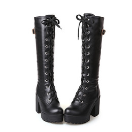 d7f30209f5236 PXELENA Gothic Square Chunky Block High Heels Riding Boots Women Lace Up  Thick Platform Rock Punk Cosplay Knee High Boots Shoes