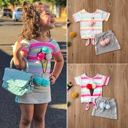 4t rainbow tutu Australia - 2020 2PCS Toddler Kids Baby Girl Clothes Sets Rainbow Striped Princess Tops T-shirt Mini Skirt Outfits