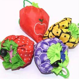 Discount foldable cute eco bag - cute Fruit Storage Handbag Foldable Shopping Bags Reusable Folding Grocery Nylon Bag Large Capacity Home Eco Tote Pouch