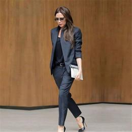 $enCountryForm.capitalKeyWord Australia - Custom Dark Gray Womens Business Suits Female Office Uniform Ladies Trouser Suits Formal Womens Tuxedo 2 Piece Set Blazer