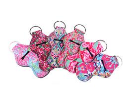 Großhandel Lilly Pulitzer Chapstick Inhaber Keychain Cover Case Neue Nette Korallenrosa Flamingos Design Neopren Lippenbalsam Keychain Halter MMA1697