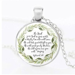 $enCountryForm.capitalKeyWord Australia - Men and women clothing matching ornaments Christmas Jesus Bible necklace Christian scriptures pattern glass alloy pendant necklace wholesale
