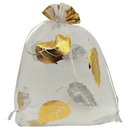 $enCountryForm.capitalKeyWord UK - 100pcs Sheer Organza Favor Bags 13x18cm For Wedding Bags Samples Display Drawstring Pouches (white-gold leaf)