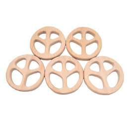 Cartoon Make Toys NZ - Beech Wooden Peace sign Teether Animal Shaped Baby Teethers Infants Teething Toys Baby Accessories For Baby Necklace Making