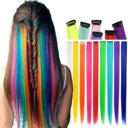"""1pc / 20 """"長い直線の偽色の髪の延長クリップのクリップの虹の髪のストリークピンクの合成毛のストランド"""