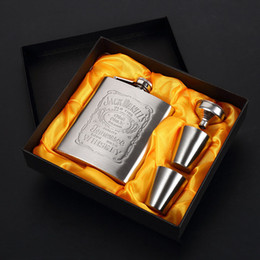 Flask Boxes Australia - 7oz Portable Stainless Steel Hip Flask With Gift Box Silver Flasks Set Fashion Whiskey Hip Flasks Wine Pot Leather Wrapped