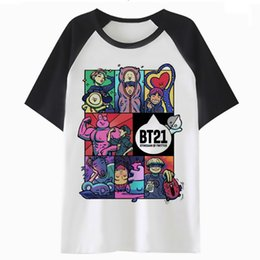 Chinese  bts bt21 kpop k-pop kpop t shirt tee funny top men harajuku tshirt clothing t-shirt male hip for streetwear hop QF4102 manufacturers