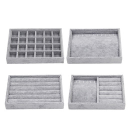display trays for jewelry UK - 4 Styles Gray Velvet Stackable Jewelry Display Tray Case For Jewellery