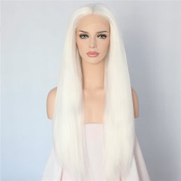 Hand Tied Lace Front Wigs Australia - Hand Tied Long Milk White Color Yaki Straight Glueless Synthetic Lace Front Wig Heat Resistant Cosplay Hair Women Wigs