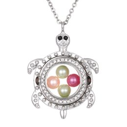 Memory Locket Pendant Wholesale Australia - Silver Turtle Living Memory 8mm Pearl Beads Magnetic Glass Floating Locket Pendant Necklace Pearl Cage Locket Charms