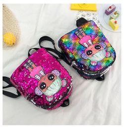 $enCountryForm.capitalKeyWord Australia - Free DHL 6 Colors Sweet Girls Sequin Backpack Cartoon Backpacks Fashion Doll Handbags Kids Toys Designer Cute Storage Bags Gift M132F