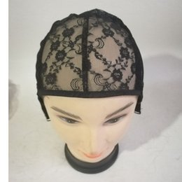 black hair net hats UK - Female Lace Wigs Caps Net Cap Headgear Hat With Adjustable Strap Black Mesh Material Wig Headgear Mesh Grid Hair Extension