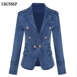 Wholesale outer coat long resale online - UKCNSEP Women Blazer Casual Long Sleeve Women Blazers Winter Autumn Double Breasted Denim Blazer Jacket Outer Coat