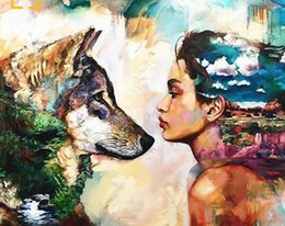 Pink Decorative Paintings Australia - 40x50cm Painting, calligraphy Decorative Acrylic drawing brush by numbers modular canvas images numbered lady and wolf