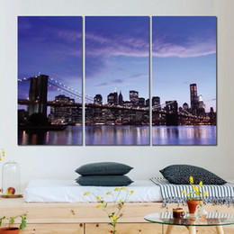 $enCountryForm.capitalKeyWord Australia - 3 piece canvas print modern art painting brooklyn bridge evening lights picture for living room wall decor