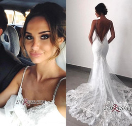 Open Back Wedding Dress Designers Australia - 2019 New Designer Sexy Lace Mermaid Wedding Dresses Spaghetti Straps Open Back Wedding Dress Bridal Gowns Vestidos De Noiva robes de marié