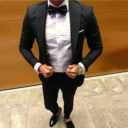 $enCountryForm.capitalKeyWord Australia - Classic Black Wool Blend Men Suits for Wedding Man Outfit Groom Tuxedo Prom Party 2Piece Costume Homme Peaked Lapel Slim Fit Terno Masculino