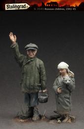 Resin Figures Australia - Free shipping 1 35 Resin Figures Russian children, 1941-45 Unassembled unpainted J156