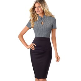 2330d14541 Sexy buSineSS caSual wear women online shopping - Elegant Work Office  Business Drapped Contrasting Bodycon Slim