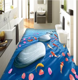 Painted floors online shopping - 3d flooring painting flooring papel de parede d Stone rose flower fish floor