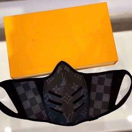 cuir de luxe demi-masque visage, mode monogrammé impression couvre la bouche du masque dans le style Demeurer en sécurité hommes et femmes Taille avec la boîte en Solde