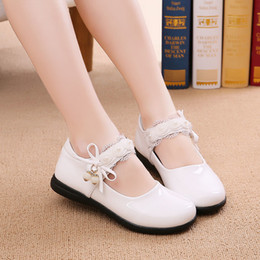 Princess Shoes Girl Children Australia - Children Casual Shoes Girls Kids Spring And Autumn Soft Bottom Flats Children's Leather Princess Shoes Xk31 Y19051303