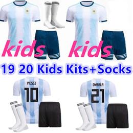 messi soccer socks 2019 - 2019 2020 Copa America Argentina Home soccer jersey kids kit 19 20 MESSI DYBALA HIGUAIN ICARDI football shirt uniform Ki
