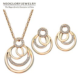 $enCountryForm.capitalKeyWord UK - necklace with earrings Neoglory Jewelry Sets With Necklaces Earrings Rose Gold Color Austrian Rhinestone For Women 2018 New Birthday Gifts