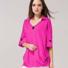 $enCountryForm.capitalKeyWord NZ - HziriP 2018 New Fashion Solid Buttons V-Neck Loose Half Sleeve Woman Clothes Outwear Blouse Female Shirts Big Size Tops Pullover