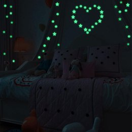 chinese sticker wall art UK - Glow In The Dark Star Round Dot Wall Stickers Luminous Home Kids Room Decor Cartoon DIY Switch Sticker Wall Stickers