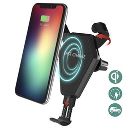 qi speaker UK - 20PCS Fast Qi Wireless Charger Car Mount Phone Holder Gravity Reaction for iPhone X 8 Plus For Samsung S8 S9