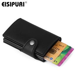 $enCountryForm.capitalKeyWord UK - Men Wallet Card Holder Aluminium Alloy Credit Card Holder Pu Leather Wallet Antitheft Men Automatic Pop Up Purse