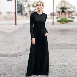 $enCountryForm.capitalKeyWord Australia - Casual 2019 Elegant Long Maxi Dress Women Solid O-neck Long Sleeve Bodycon Party Dress Boho Beach Dress Tunic Vestido Longo designer clothes