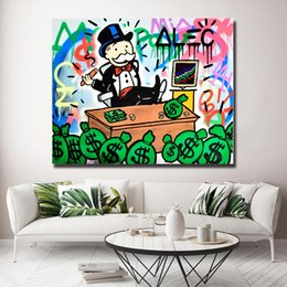pop canvas prints Australia - Graffiti Pop Money Alec Monopolyingly Canvas Painting Print Artwork Living Room Home Decor Modern Wall Art Oil Painting Poster Decroation