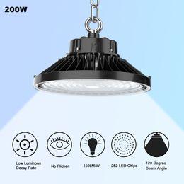 Vente en gros ETL DLC 5000K LED UFO haute baie 240W 200W 150W LED Magasin éclairage intérieur station usine Lumière d'extérieur Entrepôt éclairage
