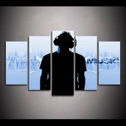 music wall hangings UK - (Only Canvas No Frame) 5pcs Man Listening DJ Music with Head Phone Black Wall Art HD Print Canvas Painting Fashion Hanging Pictures