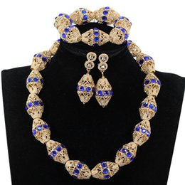 $enCountryForm.capitalKeyWord Australia - Fashion Royal Blue Rhinestone Beaded Costume Jewelry Sets Quality Dubai Gold Copper Jewelry Accessory Bridal Necklace Set WE219