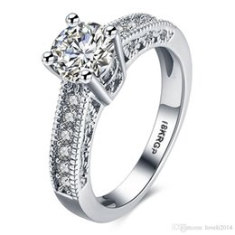 18krgp gold Australia - 2017 Vintage Cubic Zirconia Crystal Party Rings For Women Girls 18KRGP White Gold Plated Wedding Jewelry Wholesale Hot Selling