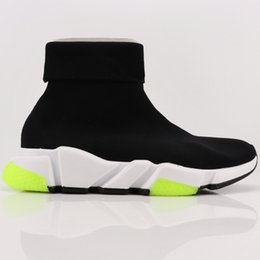 Wholesale HOT Desinger BLCG Speed Trainers Casual Outdoor Black Yellow Shoes Stretch Knit Sneakers With Cuffed Sock Effect