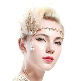 f1627b093ff99 1920s Retro Flapper Great Gatsby Leaf Bridal Headpieces Crystal Pearls  Headband Black Feather Wedding Hair Fascinator Good Gift for Ladies