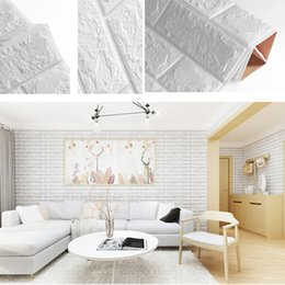 foam stickers for kids NZ - 70*77cm Wall Sticker Decal for Home Living Room DIY 3D Brick PE Foam Wallpaper Panels Room Decal Stone Decoration Embossed