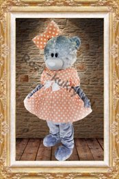 pink bear mascot costume 2019 - Lovely girls Teddy bear mascot costumes pink dressesTeddy bear tailsman doll costumes for Xmas Halloween Carnival party
