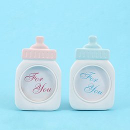 Kids photos frames online shopping - Lovely Blue Pink Baby Bottle Shape Photo Frame For Baby Shower Sweet Kids Birthday Supplies home Decor