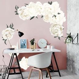 $enCountryForm.capitalKeyWord Australia - 40x60cm White Peony Flowers Wall Sticker Decal Bedroom Living room DIY Flower Removable PVC Art Home Decorations for Kids Room