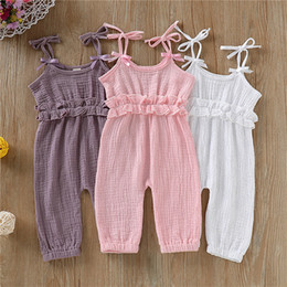 Summer Baby Girl Rompers Newborn Baby Clothes Toddler Flare Sleeve Solid Lace Designer Romper Jumpsuit Breathable One-Pieces D62804 on Sale