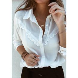 $enCountryForm.capitalKeyWord Australia - Women Long Sleeve Ruffles White shirt blouse ladies Casual Plain OL Blouse work Shirt chemise Top blusas femininas elegante