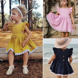 ruffle tutus Australia - baby girl summer dresses 2019 flutter sleeve ruffle tutu lace dress toddler girls clothes cute kids boutique clothing INS princess dresses
