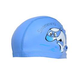 Dolphin Cartoon Child Australia - Unisex Children Kids Breathable Swimming Hat Waterproof Hair Care Ear Protection Swim Cap Polyester Cartoon Dolphin Patterns