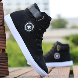 $enCountryForm.capitalKeyWord Australia - Mens High-top Canvas Shoes Men 2019 New Spring Autumn Top Fashion Sneakers Lace-up High Style Solid Colors Man Black Shoes KA853