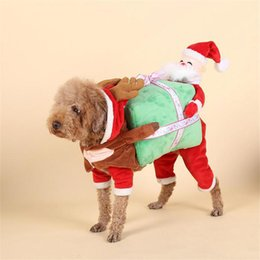 $enCountryForm.capitalKeyWord Australia - 2019 Estrella Christmas Cosplay Suit Santa Claus with Gift Box Dog Clothes Lovely Costumes Suit for Your Dogs Free Shipping